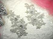 "3D Lace Appliques Silver Floral Embroidered Mirror Pair 8"" (DH91X)"