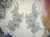 "3D Lace Appliques Silver Floral Embroidered Mirror Pair 8"" (DH92X)"