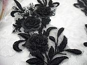 """3D Lace Appliques Black Floral Embroidered Mirror Pair 8"""" (DH92X)"""