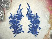"3D Lace Appliques Blue Floral Embroidered Mirror Pair 8"" (DH92X)"