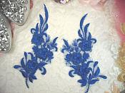 """3D Lace Appliques Blue Floral Embroidered Mirror Pair 8"""" (DH92X)"""