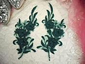 "3D Lace Appliques Emerald Green Floral Embroidered Mirror Pair 8"" (DH92X)"