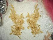 "3D Lace Appliques Gold Floral Embroidered Mirror Pair 8"" (DH92X)"
