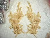 """3D Lace Appliques Gold Floral Embroidered Mirror Pair 8"""" (DH92X)"""