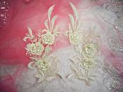 "3D Lace Appliques Ivory Floral Embroidered Mirror Pair 8"" (DH92X)"
