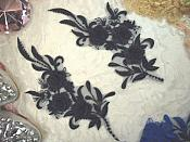 """3D Lace Appliques Navy Floral Embroidered Mirror Pair 8"""" (DH92X)"""