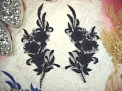 "3D Lace Appliques Navy Floral Embroidered Mirror Pair 8"" (DH92X)"