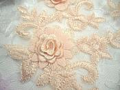 "3D Lace Appliques Peach Floral Embroidered Mirror Pair 8"" (DH92X)"