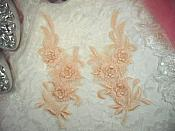 "3D Lace Appliques Peach Floral Embroidered Mirror Pair 8"" (DH92X)"