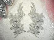"""3D Lace Appliques Silver Floral Embroidered Mirror Pair 8"""" (DH92X)"""