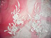 "3D Lace Appliques White Floral Embroidered Mirror Pair 8"" (DH92X)"