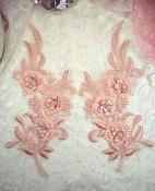 """3D Lace Appliques Pink Floral Embroidered Mirror Pair 8"""" (DH92X)"""