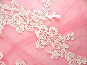 """Embroidered Lace Appliques White Floral Venice Lace Mirror Pair 13"""" (DH88X)"""
