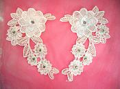 "3D Venice Lace Applique White Floral Venise Lace with Crystal Rhinestones and Pearls 8"" (DH93X)"