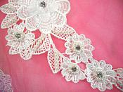 """3D Venice Lace Applique White Floral Venise Lace with Crystal Rhinestones and Pearls 8"""" (DH93X)"""