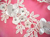 "White Silver Crystal Bridal Floral Venice Lace Applique 9.5"" (DH94X)"
