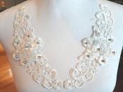 "3D Venice Lace Applique White Floral Venise Lace with Crystal Rhinestones 8.5"" (DH95X)"