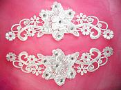 "3D Venice Lace Applique White Floral Venise Lace with Crystal Rhinestones 8.5"" (DH95X)"