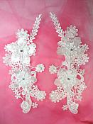 """3D Venice Lace Applique White Floral Venise Lace with Crystal Rhinestones and Pearls 10"""" (DH96X)"""