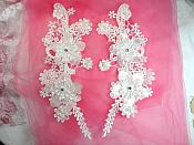 "3D Venice Lace Applique White Floral Venise Lace with Crystal Rhinestones and Pearls 10"" (DH96X)"