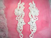 "3D Venice Lace Applique White Floral Venise Lace with Crystal Rhinestones and Pearls 10"" (DH97X)"