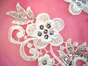 "3D Venice Lace Applique White Floral Venise Lace with Silver Sequins  8.5"" (DH98X)"