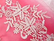 "Embroidered Lace Appliques White Antique Floral Venice Lace Mirror Pair 11"" (DH99X)"