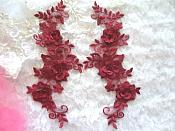 """3D Lace Appliques Wine Brick Red Floral Embroidered Mirror Pair 10.5"""" (DH65X)"""