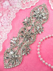 """DH3 Crystal Rhinestone Applique Wedding Bridal Sash Motif  7"""""""