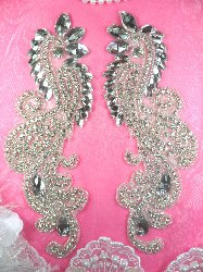 RMDH4XB REDUCED Rhinestone Appliques Mirror Pair Crystal Clear Glass Silver Beaded 9""