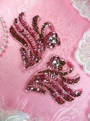"E001 Sequin Beaded Appliques Mauve Claw Mirror Pair Acrylic Rhinestones  4"""