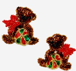 E197pr Teddy Bear w/ Ball Sequin Beaded Applique 2""