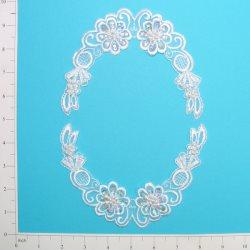 """E2105x White Bridal Venise Lace Mirror Pair Appliques 5.5"""""""
