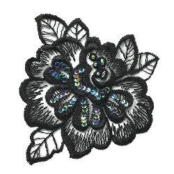 "E2708  Black Iris (right) Venice Lace Floral Sequin Beaded Applique 5.5"""