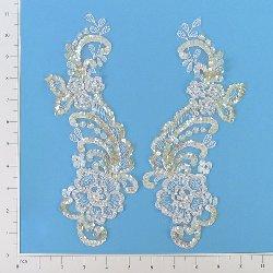 """E2719 White Mirror Pair Venise Lace Beaded Sequin Appliques 10 1/2"""""""