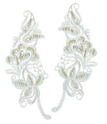 """E2723x White Bridal Venise Lace Mirror Pair Sequin Appliques 9"""""""