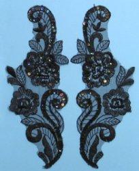 """E2735 Black Iris Venise Lace Mirror Pair Appliques 8.5"""""""