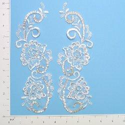"""E2738 White Floral Venise Lace Mirror Pair Beaded Sequin Appliques 10"""""""
