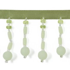 E3777 Fringe Trim Frosted Bauble Pastel Green 2.25""