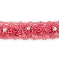 E4444  Hot Pink Lace Wedding Bridal Sewing Trim 1""