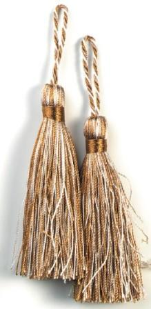 """E5524  Set of Two Brown and WhiteTassels 3.75"""""""