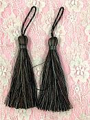 """E5524  Set of Two Pewter Mix Tassels 3.75"""""""