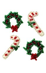 """E584xs Christmas Candy Cane and Wreath Set of  4 Sequin Beaded Appliques  1"""""""