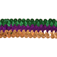 E6809 Mardi Gras Sequin Stretch Sewing Trim 1.25""