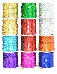 E6954 12 Spools of 6mm Slung String Sequin - 5 meters each spool