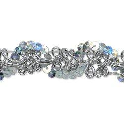 "E6960 Silver Sequin Loop Braid Metallic Sewing Craft Trim 1/2"""