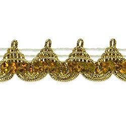 "E6963 Gold Pointed Sequin Braid Metallic Sewing Craft Trim 3/4"""