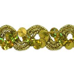 "E6967  Gold Sequin Trim Holographic Ric Rac Braid  3/4"""