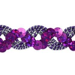 "E6967 Purple Silver Sequin Trim Holographic Ric Rac Braid  3/4"""