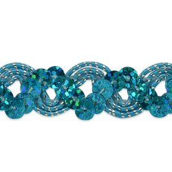 RME6967-trsl (22 REMNANT )Turquoise Silver Sequin Trim Holographic Ric Rac Braid
